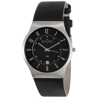 Skagen Men's 233XXLSLB Black Leather Strap Watch