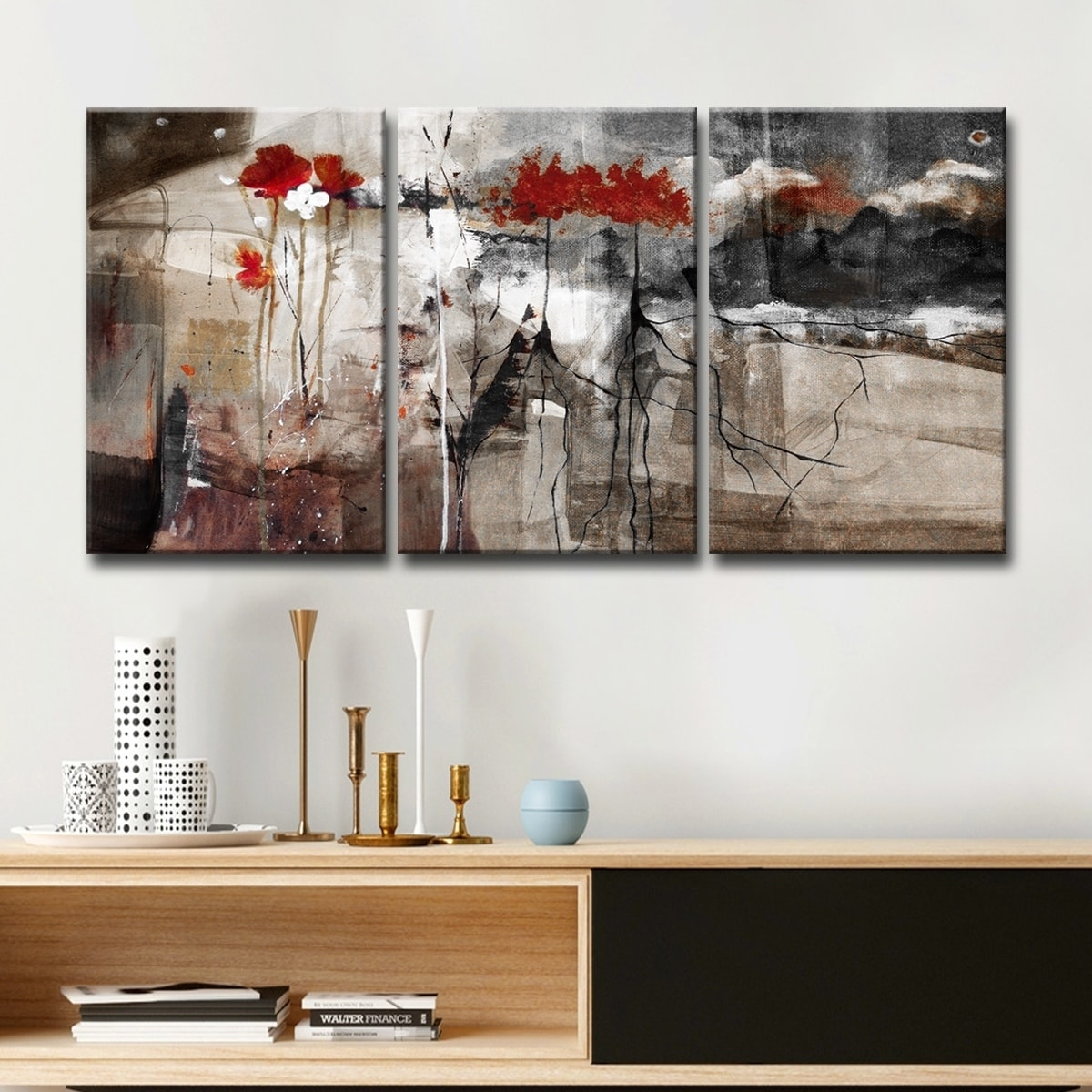 Ready2hangart abstract multi panel canvas wall art