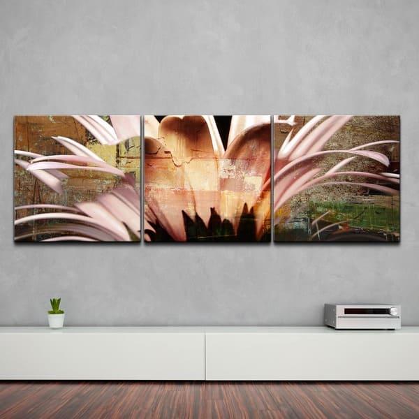 Ready2hangart Daisy Oversized Abstract Canvas Wall Art 3 Piece