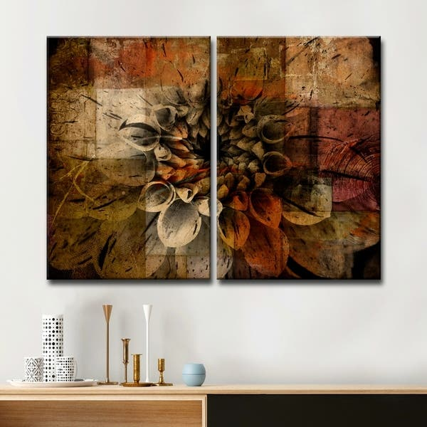 "BROWN FLORAL FLOWER CANVAS PICTURES WALL ART SPLIT MULTI PANEL 40/"" ready 2 hang"