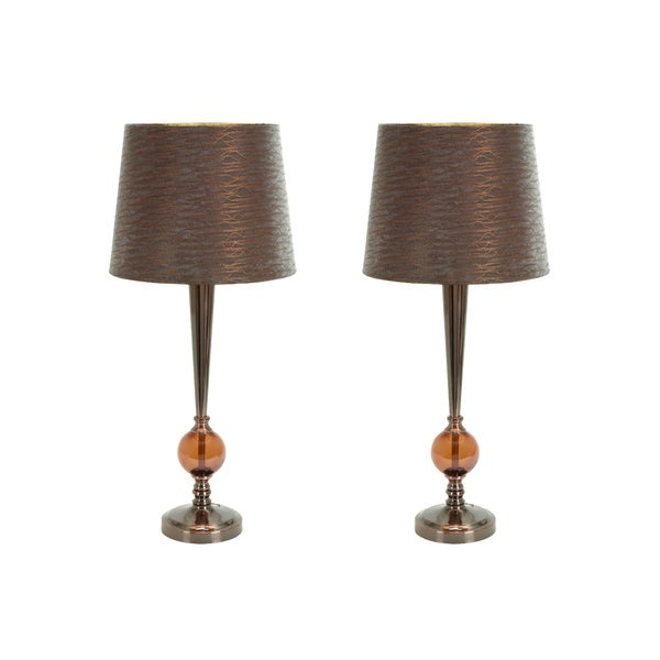 Casa Cortes 28-inch Amber Metallic Table Lamp (Set of 2)