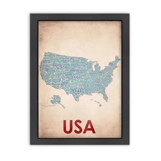 USA Wordmap Framed Picture