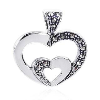 Twin Hearts Love Symbol Marcasite .925 Silver Pendant (Thailand)