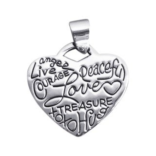 Handmade Live Love Scribble Messages Heart Sterling Silver Pendant (Thailand)
