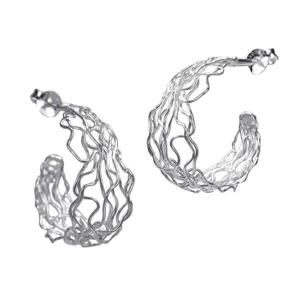fb60dab05 Shop Handmade Wire Wrap Twist Sterling Silver Half Hoop Mesh Earrings  (Thailand) - On Sale - Free Shipping On Orders Over $45 - Overstock -  8401736