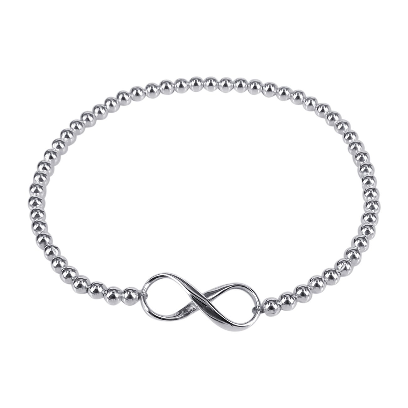 Endless Love Infinity Sterling Silver Elastic Bead Bracelet (Thailand)