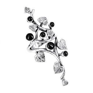Handmade Beautiful Vine Leaf Round Black Onyx .925 Sterling Silver Ring (Thailand)