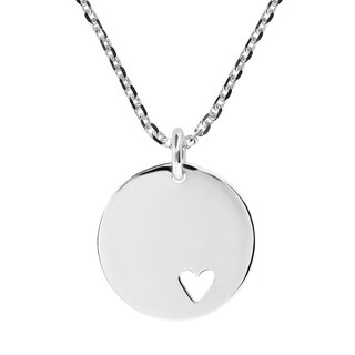 Handmade Endless Love .925 Silver Heart Tag Round Pendant Necklace
