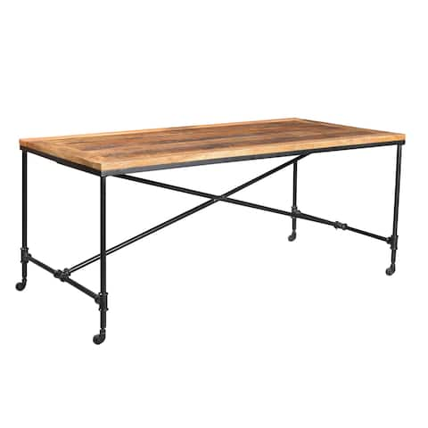 """Timbergirl Handmade Reclaimed Wood and Metal Wheel Dining Table (India) - Brown - 30"""" H x 71"""" L x 35.50"""" D"""