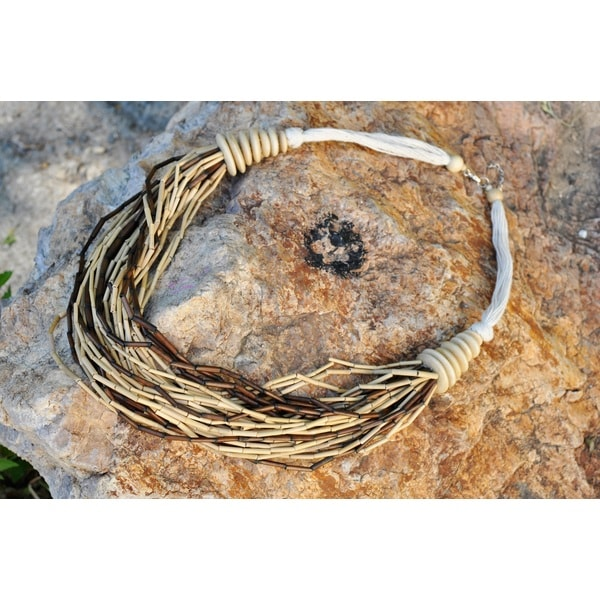 Thai Handicraft Coconut Wood and White Cord Multi-strand Necklace (Thailand)