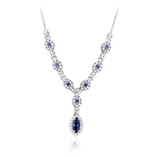 Icz Stonez Sterling Silver Blue and Clear Cubic Zirconia Necklace