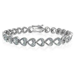 DB Designs Silvertone Diamond Accent Heart Link Bracelet (I-J, I2-I3)