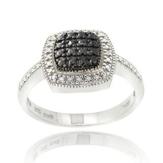 DB Designs Rhodium-plated Black Diamond Square Ring