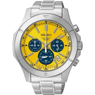 Shop Seiko Men S Chronograph Yellow Dial Stainless Steel