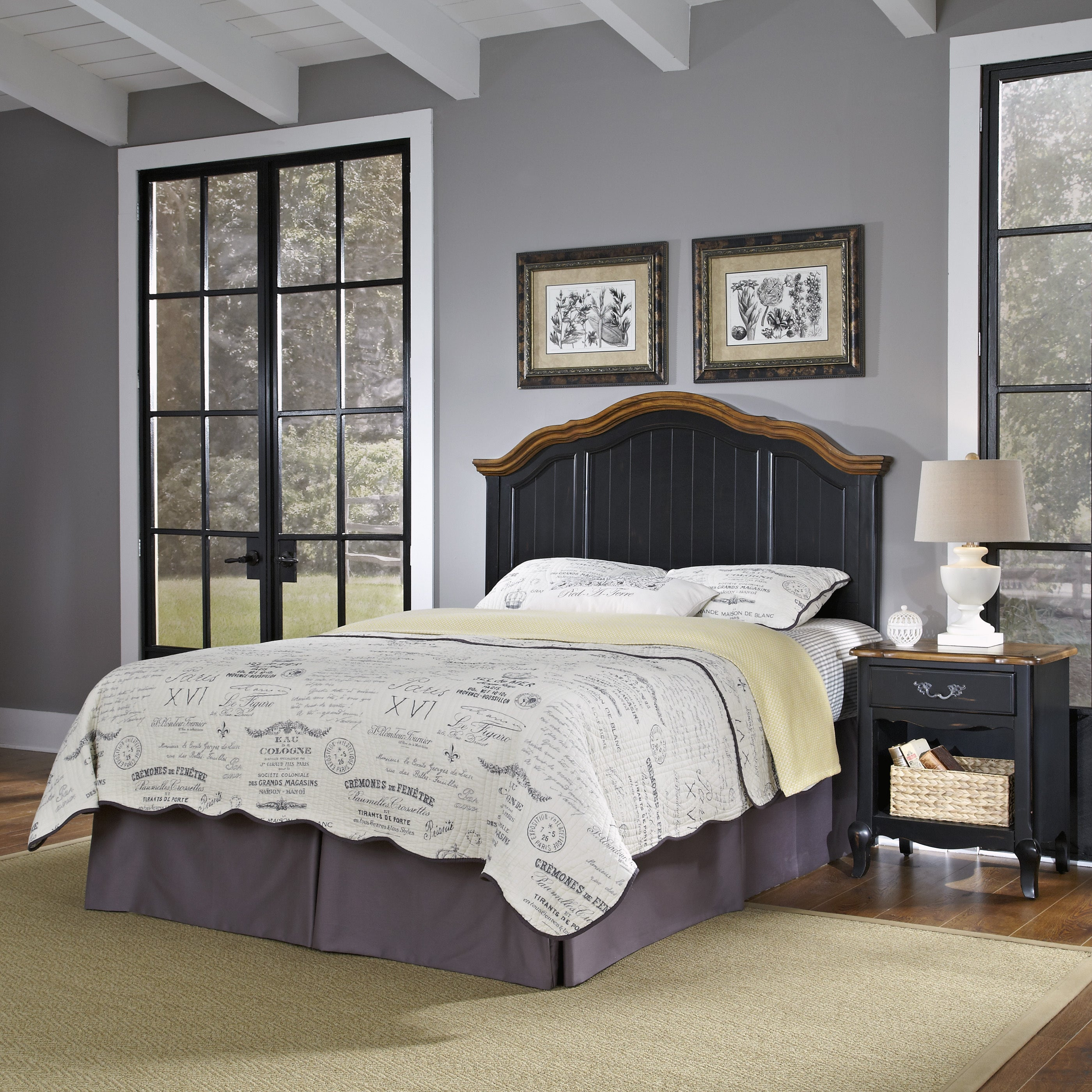 The French Countryside Full/ Queen Headboard and Night St...