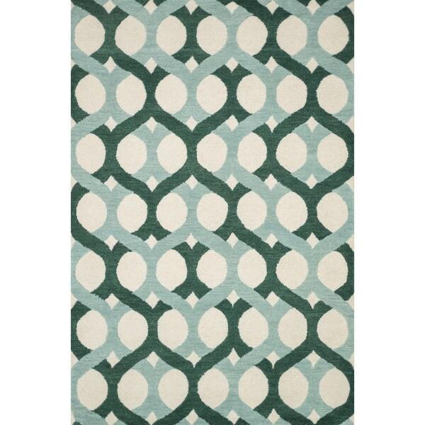 Hand-tufted Tatum Blue/ Green Wool Rug - 7'9 x 9'9