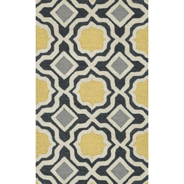 Hand-tufted Tatum Charcoal/ Gold Wool Rug (2'3 x 3'9)
