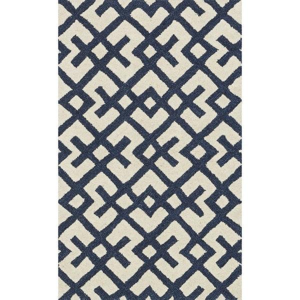 Hand-tufted Tatum Ivory/ Navy Wool Rug - 2'3 x 3'9