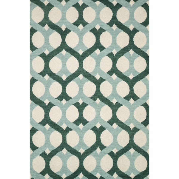 Shop Hand-tufted Blue/ Green Wool Area Rug