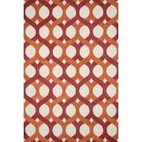 Hand-tufted Tatum Red and Orange Wool Rug - 7'9 x 9'9