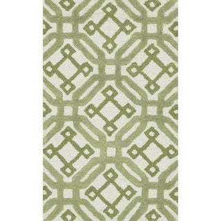 Hand-tufted Tatum Ivory and Green Wool Rug (2'3 x 3'9)