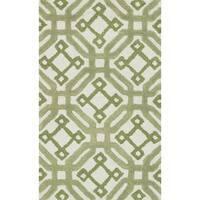 Hand-tufted Tatum Ivory and Green Wool Rug - 2'3 x 3'9
