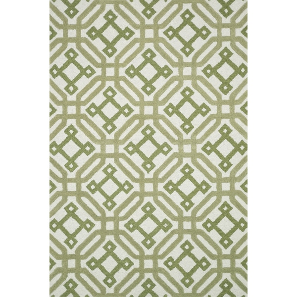 Hand-tufted Tatum Ivory/ Green Wool Rug - 5' x 7'6