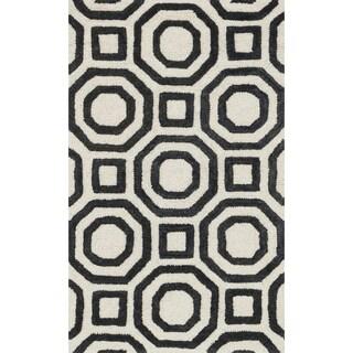 Hand-tufted Tatum Ivory and Black Wool Rug (2'3 x 3'9)