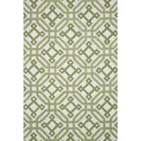 Hand-tufted Tatum Ivory/ Green Wool Rug - 7'9 x 9'9