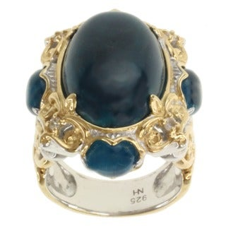 Michael Valitutti Two-tone Opaque Apatite and White Sapphire Ring