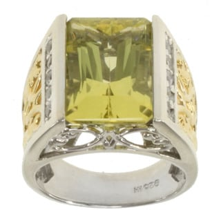 Michael Valitutti Two-tone Oro Verde and White Sapphire Ring