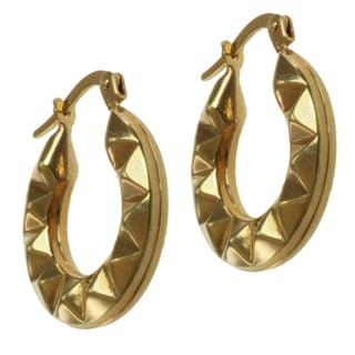Michael Valitutti 14k Yellow Gold Diamond-cut Hoop Earrings