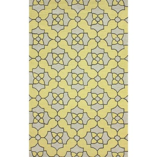 nuLOOM Handmade Wool Tile Trellis Yellow Rug (3'6 x 5'6)