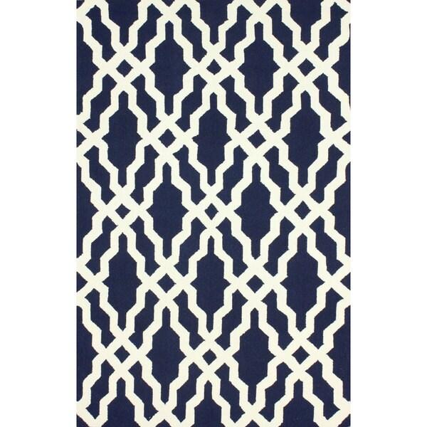 Nuloom Handmade Wool Moroccan Trellis Navy Blue Rug 5 X
