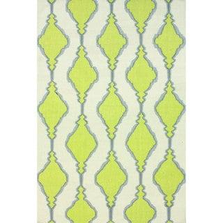 nuLOOM Handmade Flatweave Wool Trellis Green Rug (7'6 x 9'6)