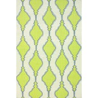 nuLOOM Handmade Flatweave Wool Trellis Green Rug (8'6 x 11'6) - 8'6 x 11'6