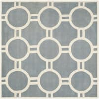 Safavieh Handmade Moroccan Chatham Blue/ Ivory Wool Geometric Rug - 7' Square