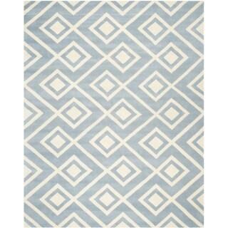 Safavieh Handmade Moroccan Chatham Blue/ Ivory Wool Rug (8' 9 x 12')