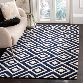 Safavieh Handmade Moroccan Chatham Dark Blue/ Ivory Wool Rug (8' 9 x 12')