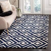 Safavieh Handmade Moroccan Chatham Square-pattern Dark Gray/ Ivory Wool Rug - 8' x 10'