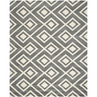 Safavieh Handmade Moroccan Chatham Dark Grey/ Ivory Wool Rug (8' 9 x 12')