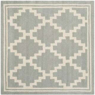 Safavieh Handmade Moroccan Chatham Grey/ Ivory Wool Rug (5' Square)