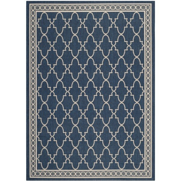 "Safavieh Courtyard Trellis All-Weather Navy/ Beige Indoor/ Outdoor Rug (5'3"" x 7'7"") - 5'3 x 7'7"