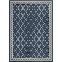 Safavieh Courtyard Trellis All-Weather Navy/ Beige Indoor/ Outdoor Rug (6'7 x 9'6) - 6'7 x 9'6