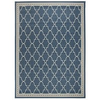 Safavieh Courtyard Trellis All-Weather Navy/ Beige Indoor/ Outdoor Rug (8' x 11') - 8' x 11'