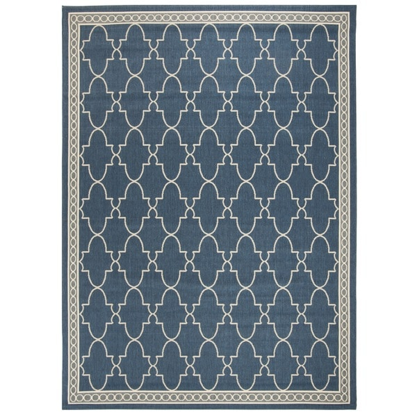 Safavieh Courtyard Trellis All-Weather Navy/ Beige Indoor/ Outdoor Rug - 8' X 11'