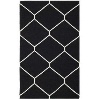 Safavieh Handwoven Moroccan Reversible Dhurrie Black/ Ivory Geometric Wool Rug (2'6 x 4')