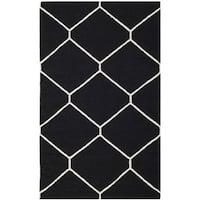 Safavieh Hand-woven Moroccan Reversible Dhurrie Black/ Ivory Wool Rug (3' x 5') - 3' x 5'