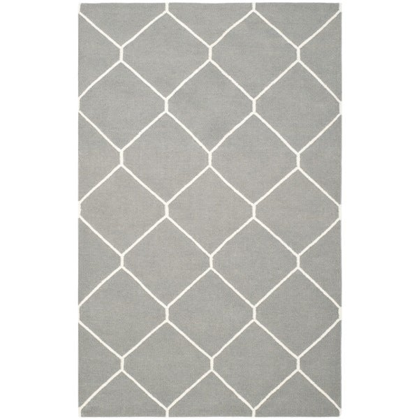 Safavieh Handwoven Moroccan Reversible Dhurrie Soft Grey/ Ivory Wool Rug (4' x 6')