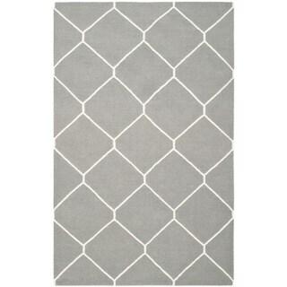 Safavieh Handwoven Moroccan Reversible Dhurrie Soft Grey/ Ivory Wool Rug (4' x 6')